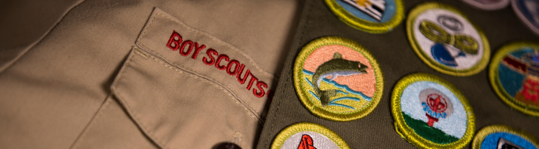 Boy Scout badges and uniform