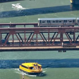 Train over the river in Chicago, Illinois