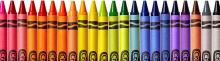 Crayons, colored and organized